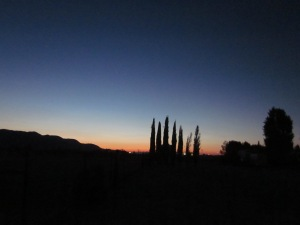 Pre-dawn sun over the desert outside of Barstow, CA