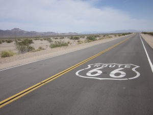 Route 66 stretching out into the desert for miles, my view for 3 days straight.